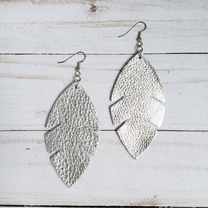 Metallic Silver Feather Leather Earrings