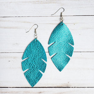Metallic Blue Feather Leather Earrings