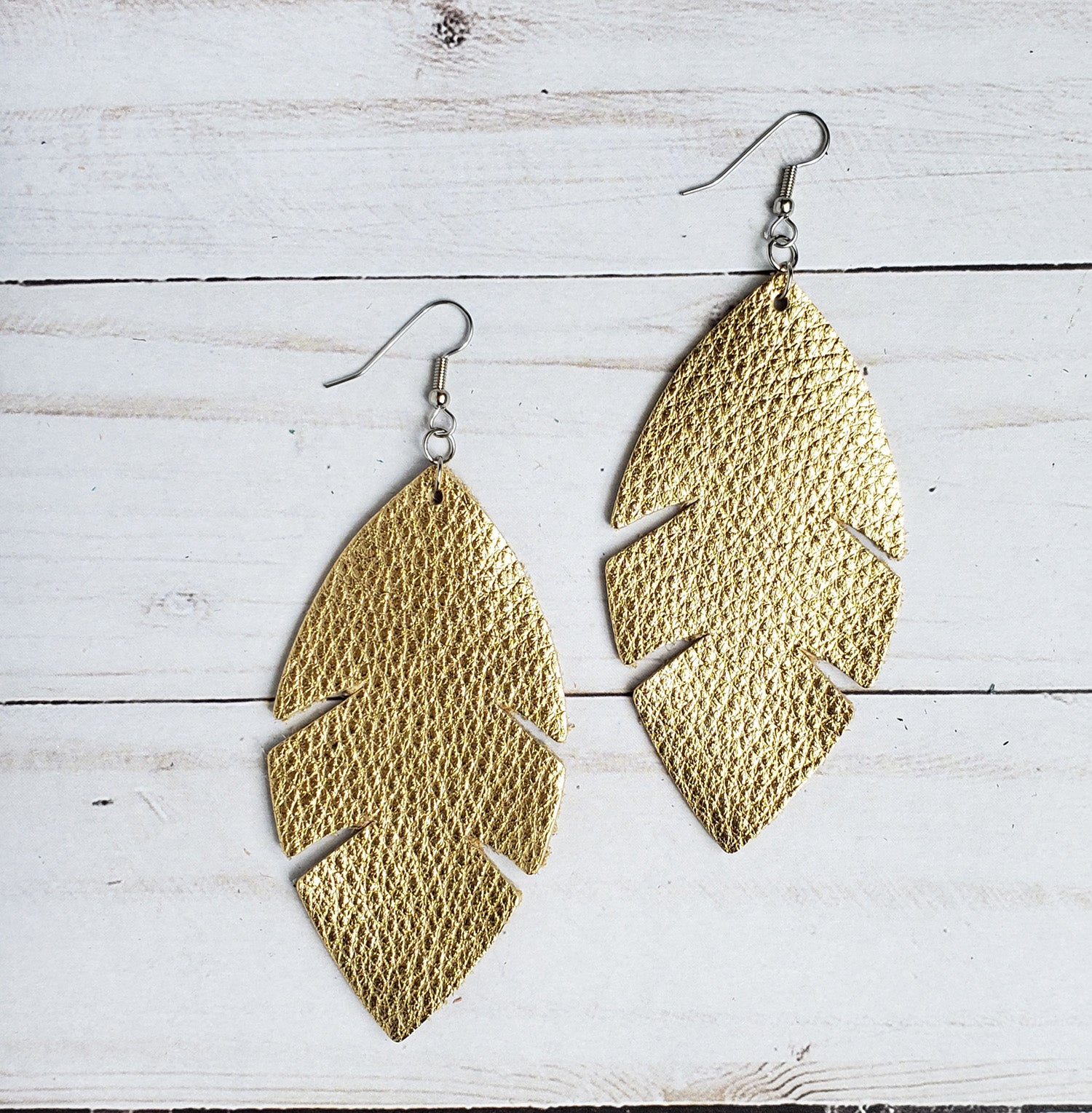 Metallic Gold Feather Leather Earrings