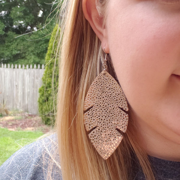 Rose Gold Stingray Feather Leather Earrings