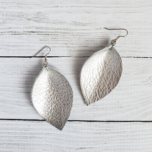 Silver Leather Leaf Earrings