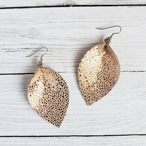 Peach Stingray Leaf Earrings
