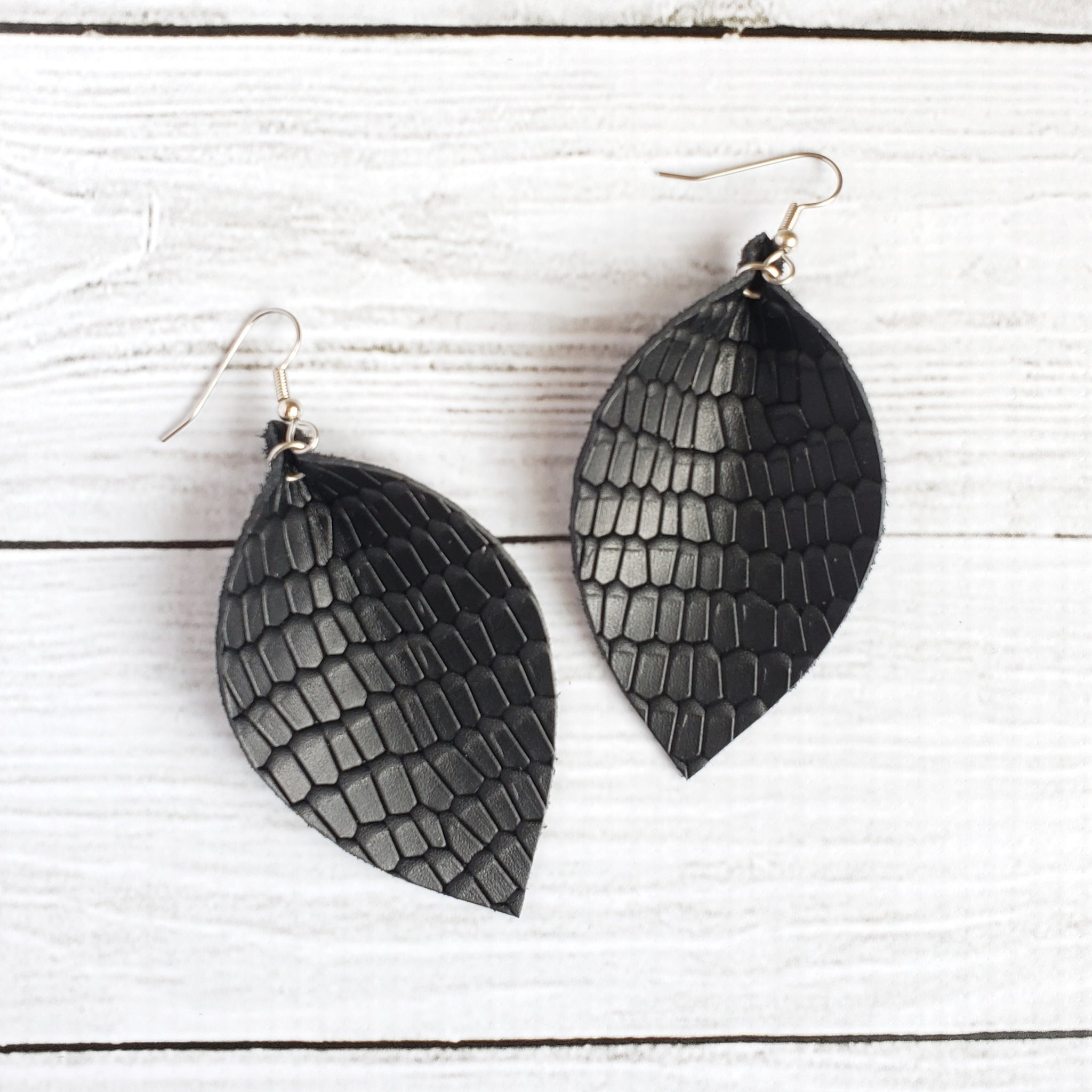 Black Reptile Leaf Earrings