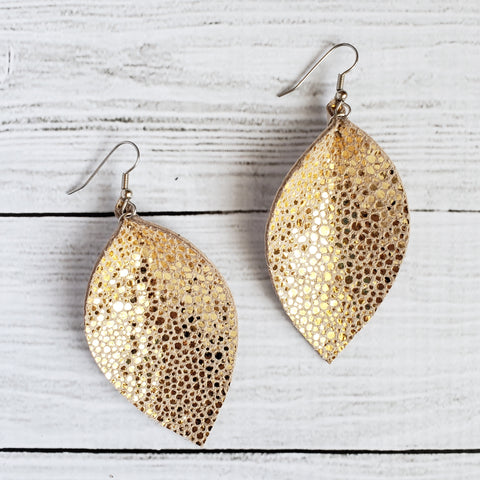 Gold Stingray Leaf Earrings