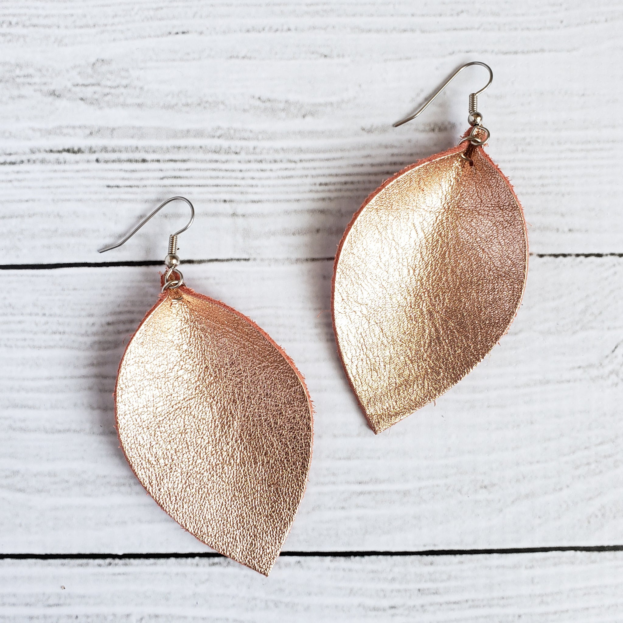 Rose Gold Leaf Earrings