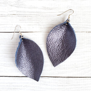 Navy Blue Leaf Earrings