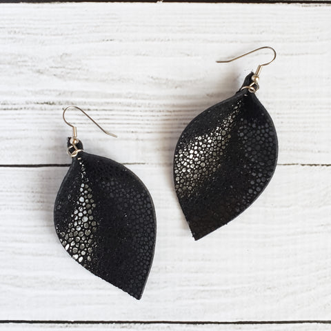 Black Stingray Leaf Earrings