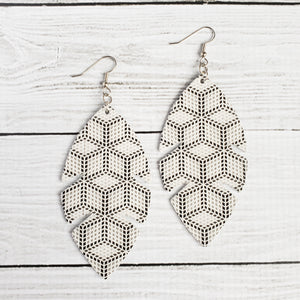 White Geometric Feather Leather Earrings