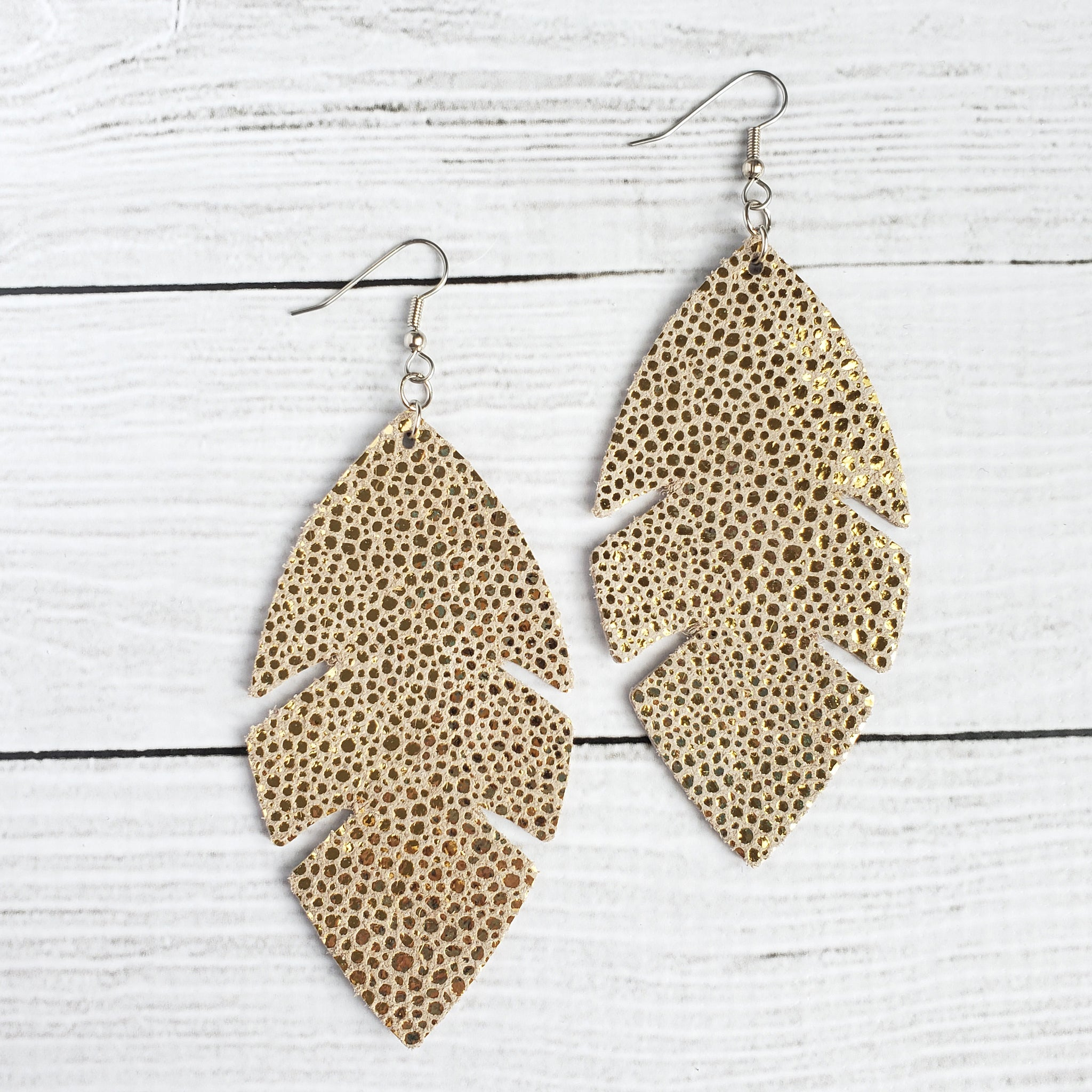 Gold Stingray Feather Leather Earrings