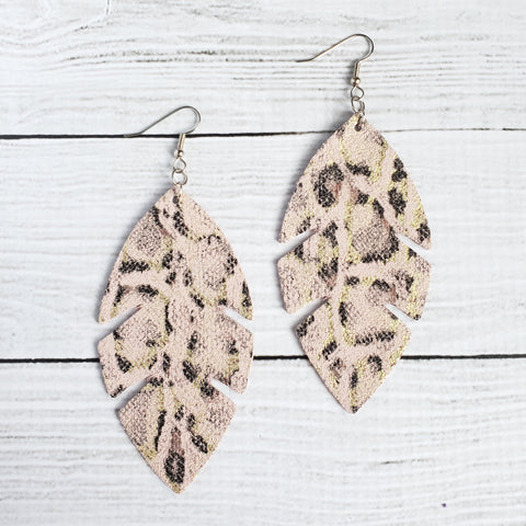Light Pink Leopard Feather Leather Earrings