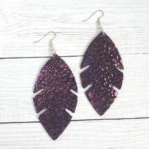Chameleon Feather Leather Earrings