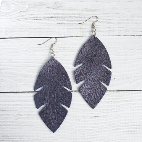 Navy Blue Feather Leather Earrings