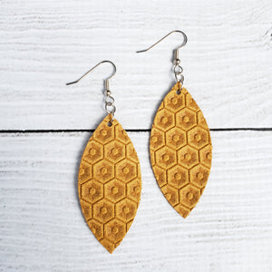 Mustard Honeycomb Leather Petal Earrings