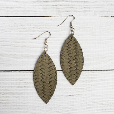Olive Braided Leather Petal Earrings