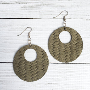 Olive Braided Circle Leather Earrings