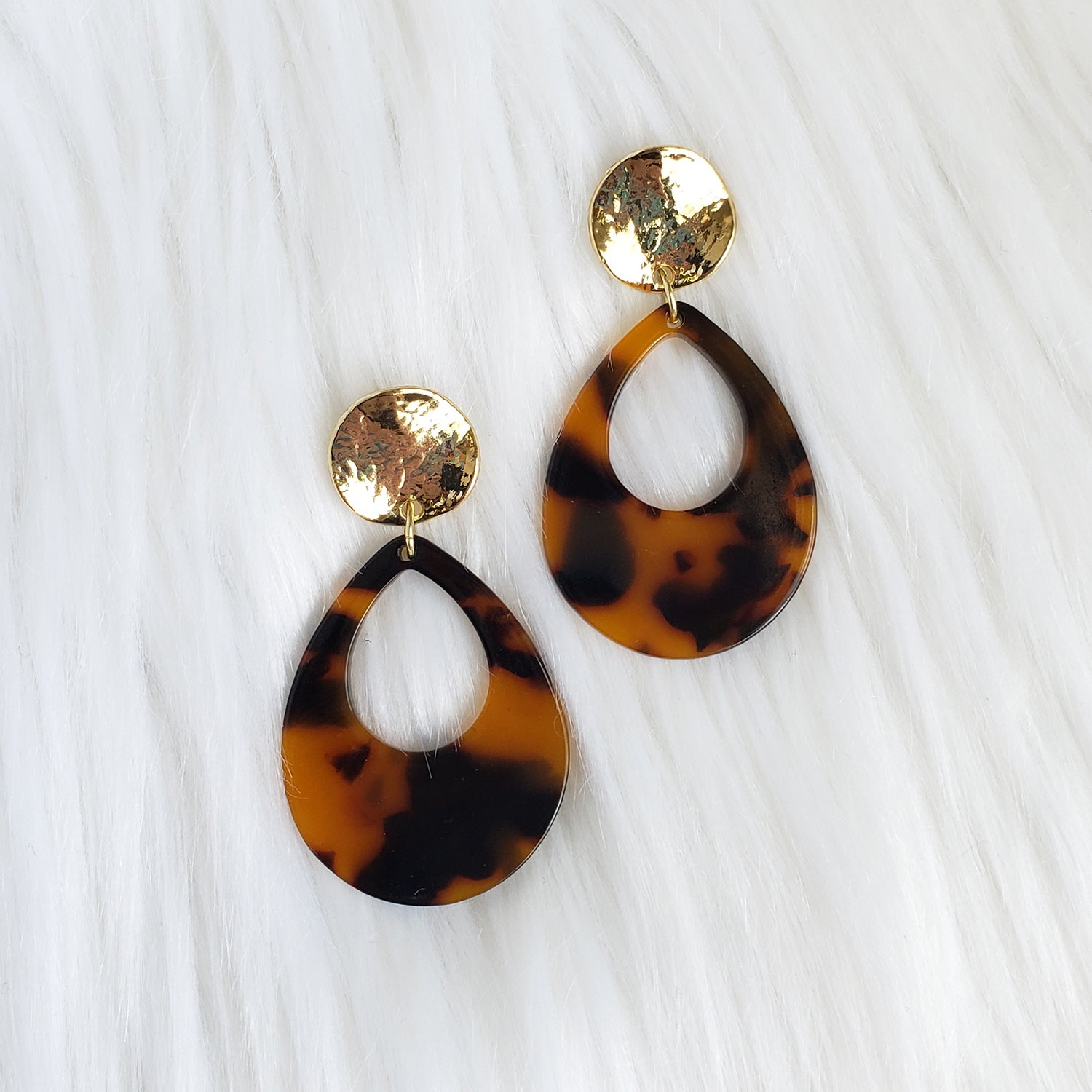 Tortoise Shell Acrylic Teardrop Earrings