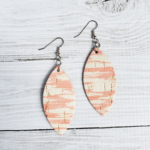 Coral Dreams Leather Petal Earrings