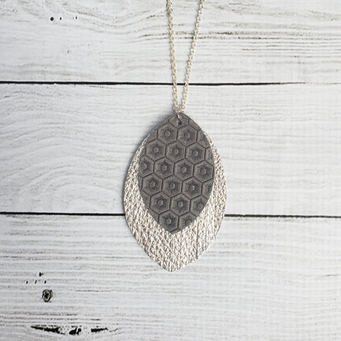 Grey and Silver Fringe Necklace