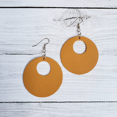 Mustard Circle Leather Earrings