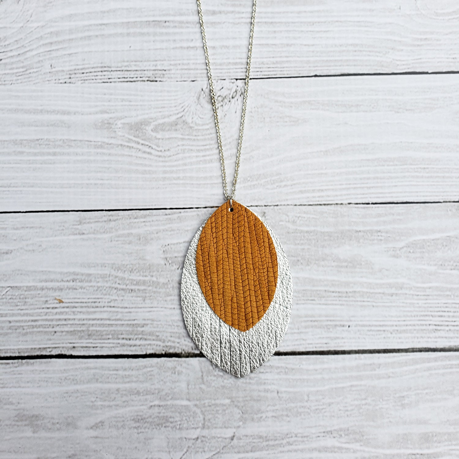 Mustard and Silver Fringe Necklace