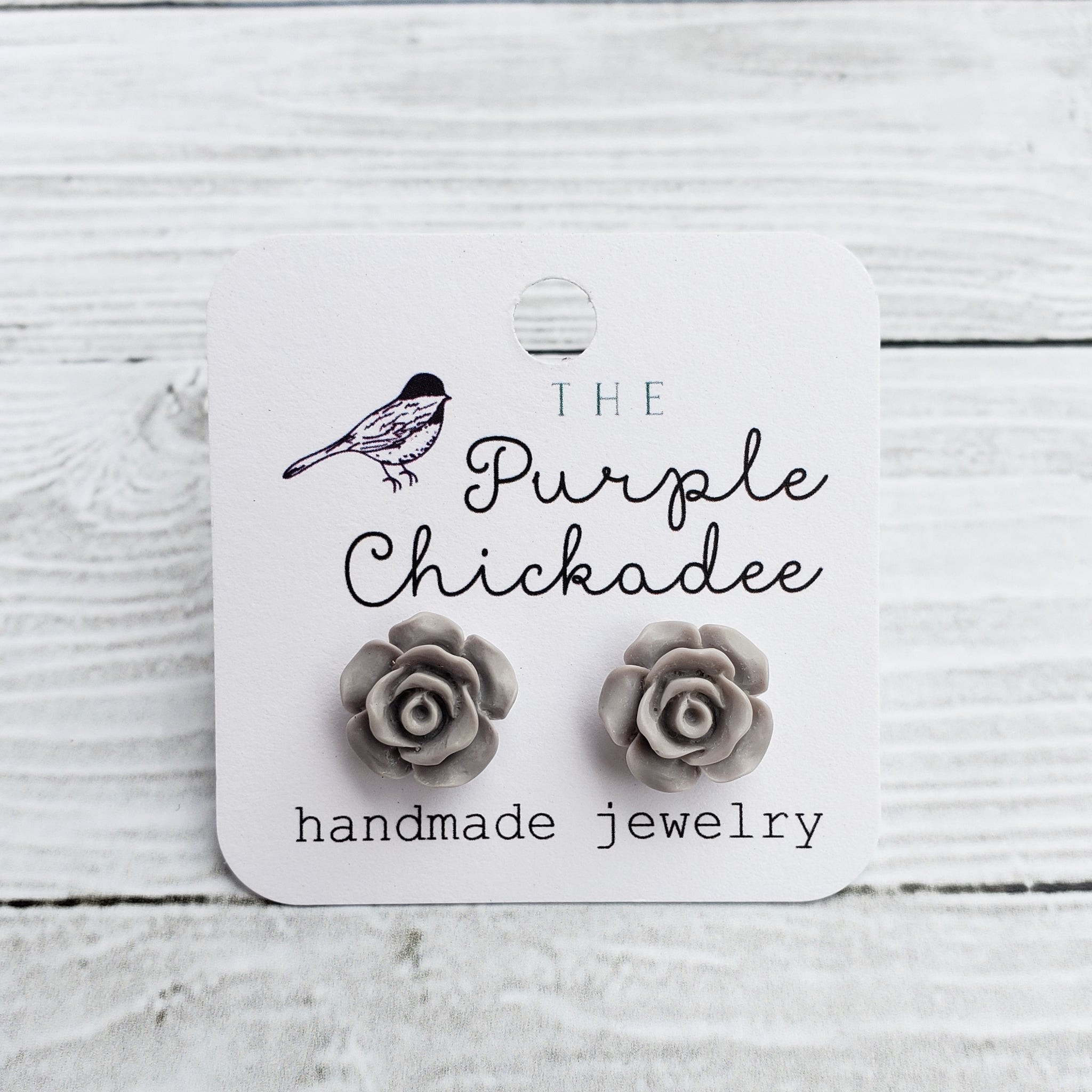 Grey Rose Earrings - Titanium Hypoallergenic