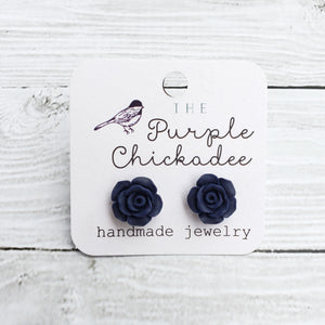 Navy Blue Rose Earrings - Titanium Hypoallergenic
