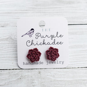 Burgundy Succulent Earrings - Titanium Hypoallergenic