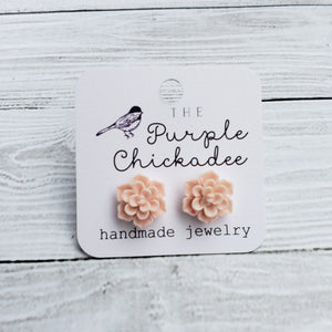 Light Pink Succulent Earrings - Titanium Hypoallergenic