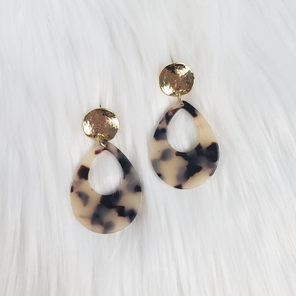 Blonde Tortoise Acrylic Teardrop Earrings