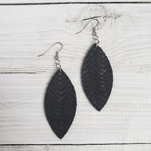 Black Braided Leather Petal Earrings