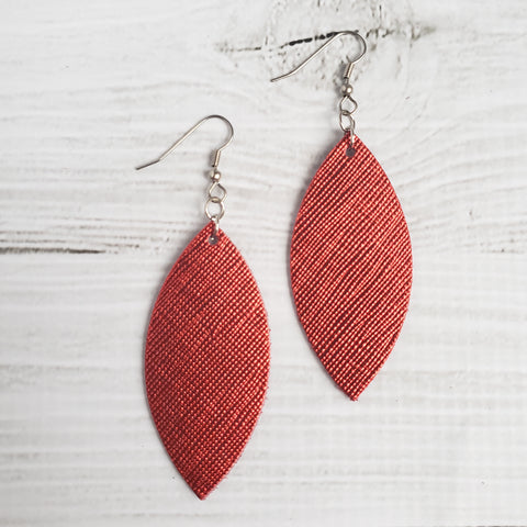 Metallic Red Leather Petal Earrings