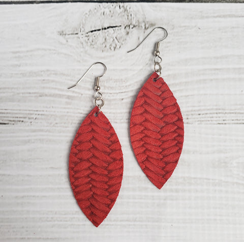 Strawberry Red Braided Leather Petal Earrings