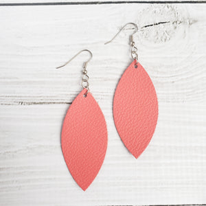 Coral Leather Petal Earrings