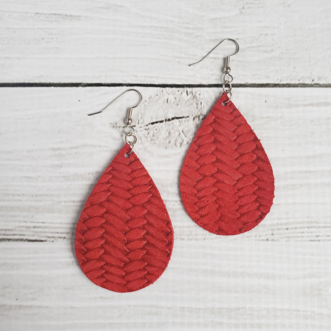 Strawberry Red Braided Leather Drop Earrings