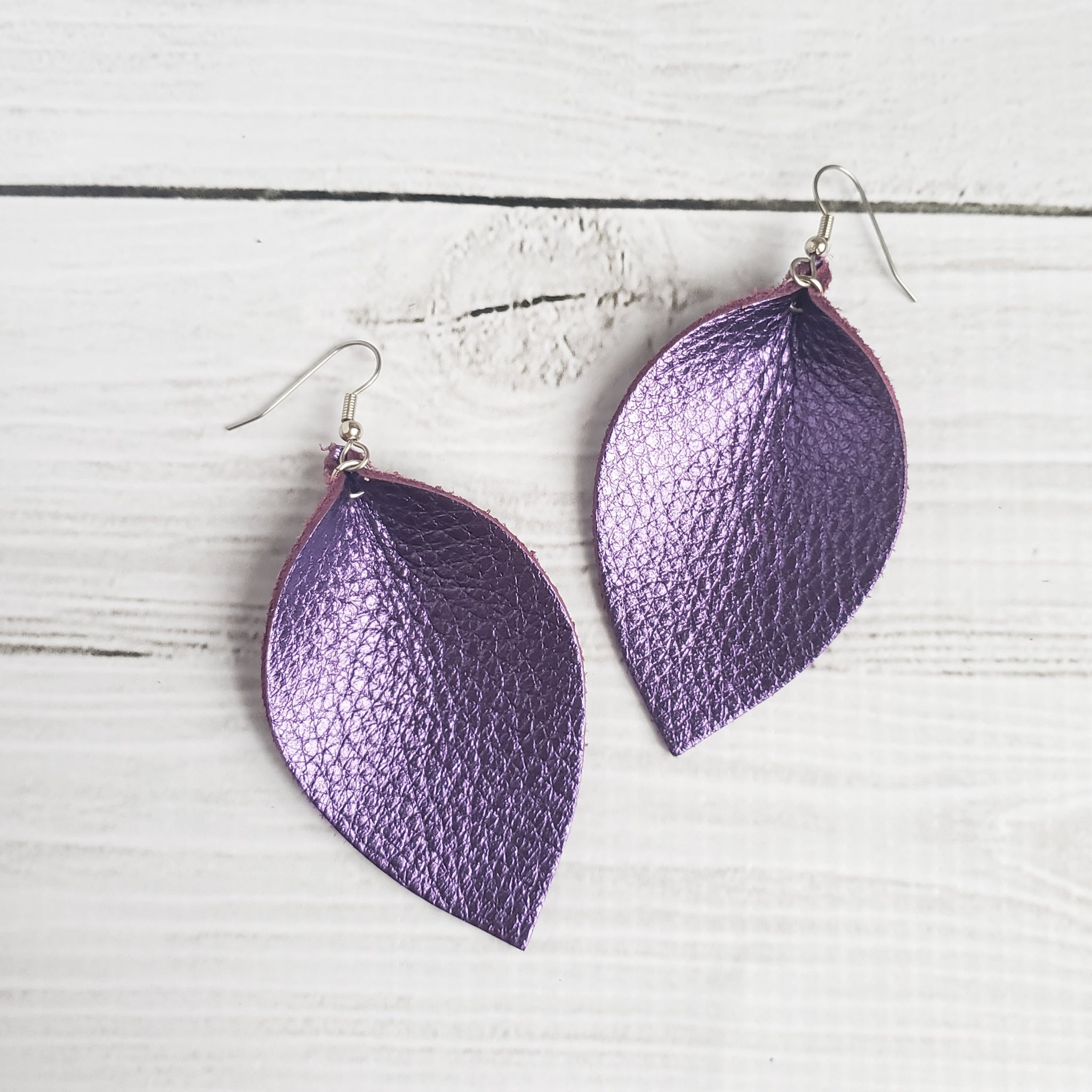 Purple Reign Leather Leaf Earrings