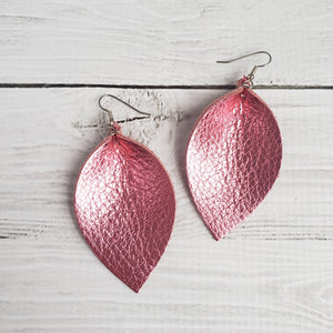 Party Pink Leather Leaf Earrings