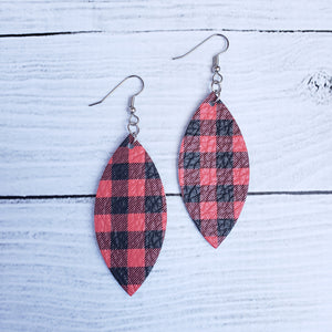 Red Buffalo Plaid Leather Petal Earrings