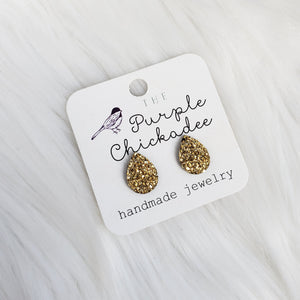 Gold Teardrop Druzy Stud Earrings