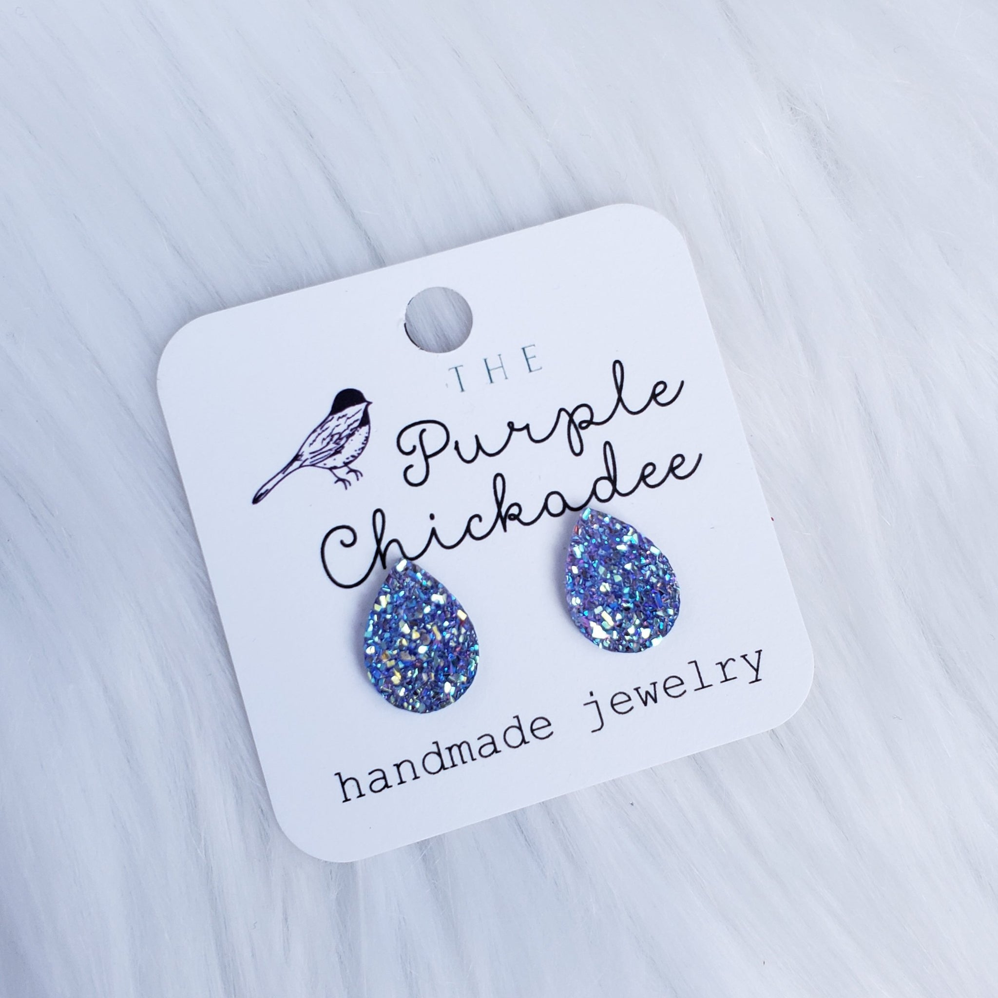 Purple Teardrop Druzy Stud Earrings