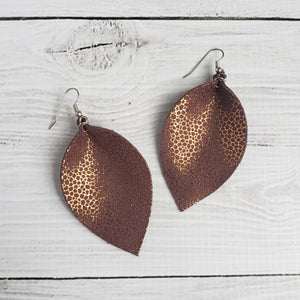 Golden Toast Leather Leaf Earrings