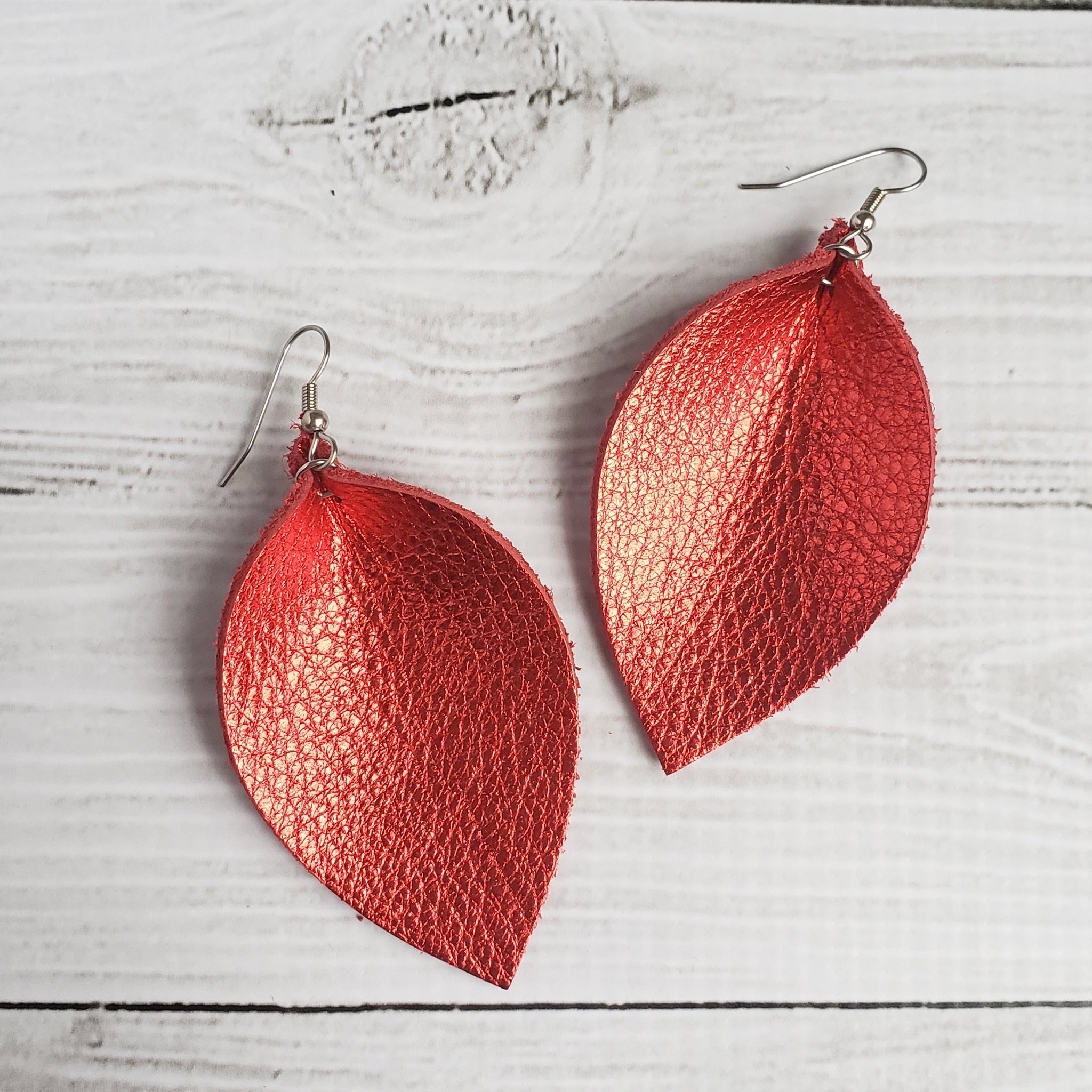 Metallic Red Leather Leaf Earrings