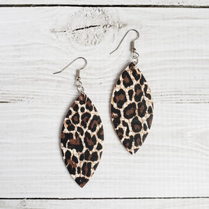 Chocolate Cheetah Print Leather Petal Earrings