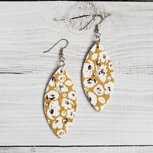 Mustard Poppies Leather Petal Earrings