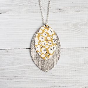 Mustard Poppies and Silver Fringe Necklace