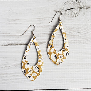 Mustard Poppies Leather Teardrop Cutout