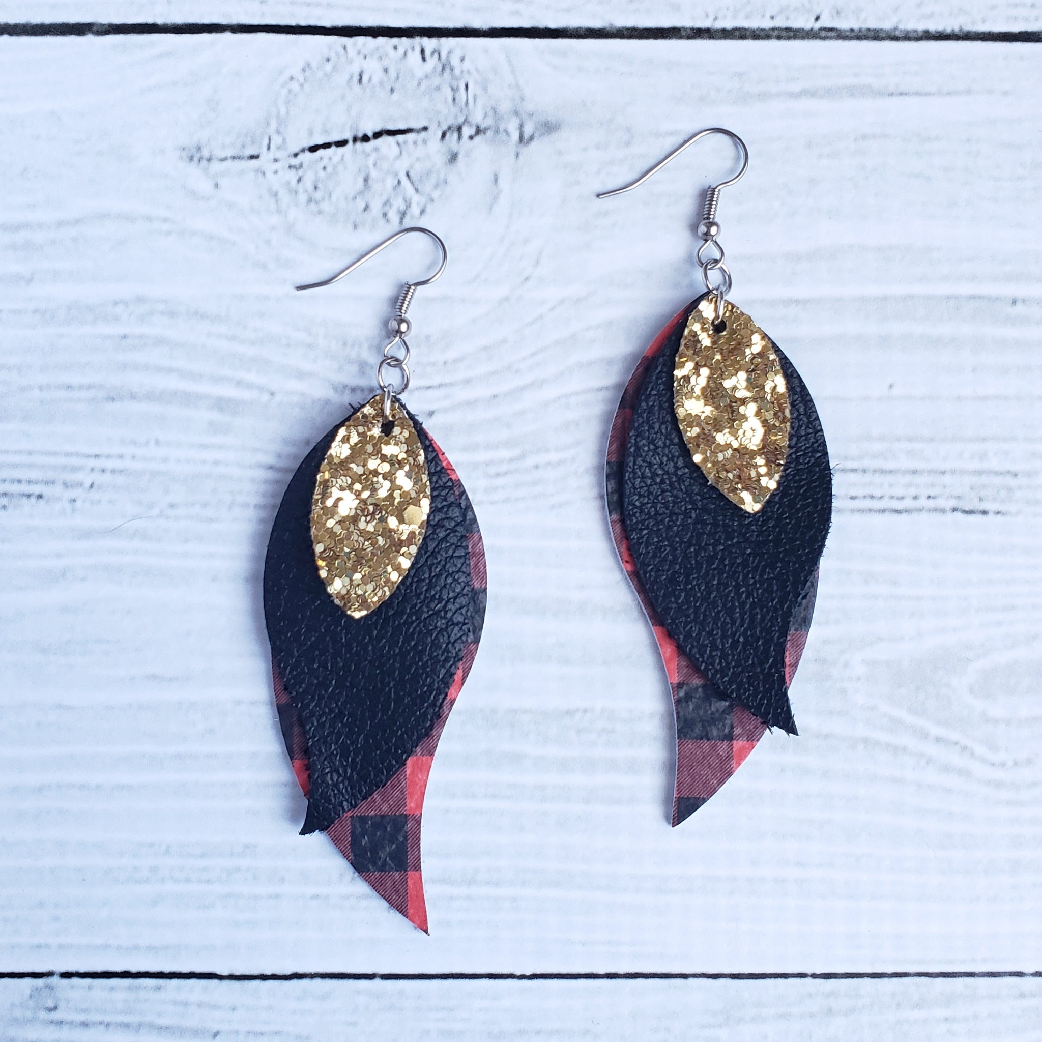 Red Buffalo Plaid Triple Petal Earrings