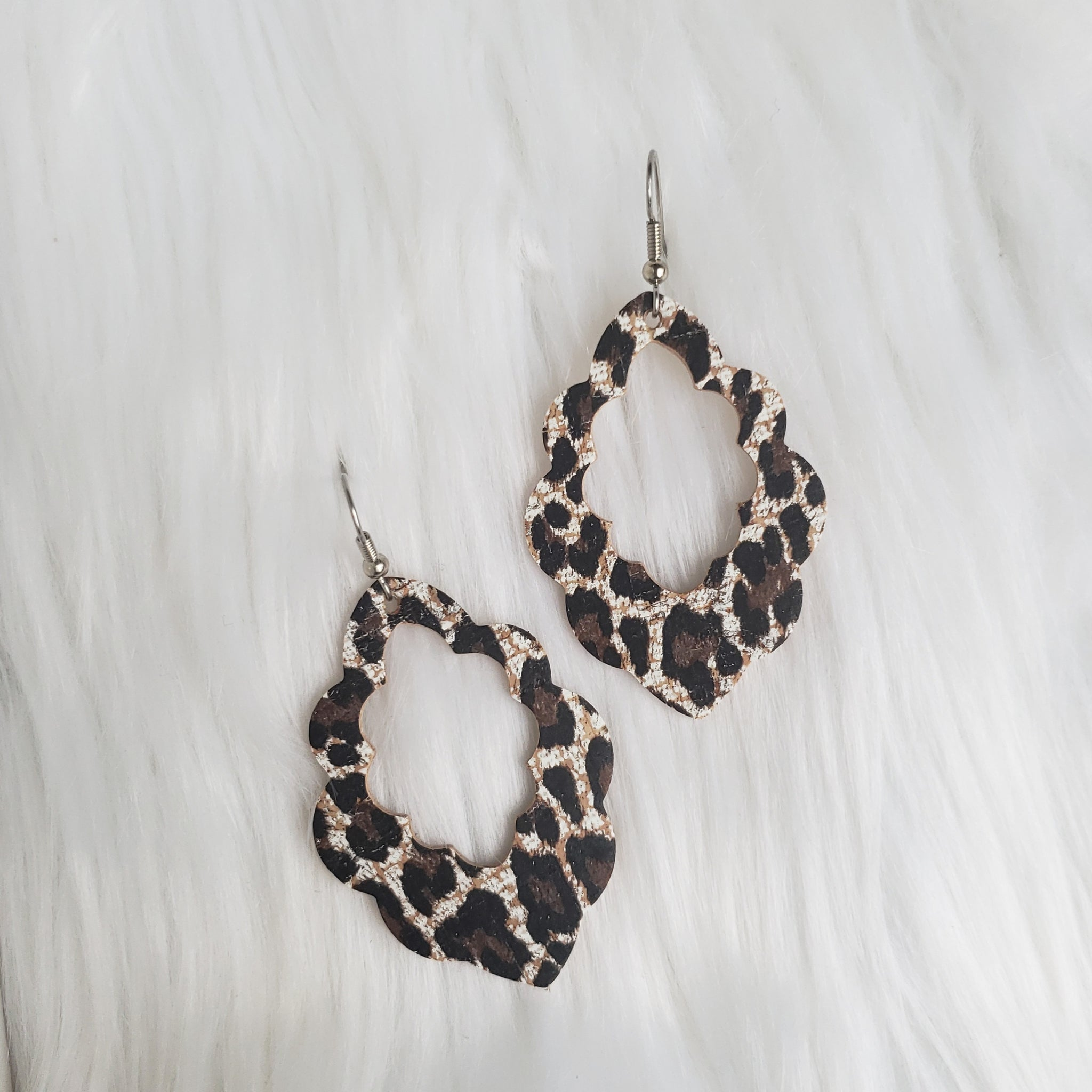 Chocolate Cheetah Print Cork-Leather Scalloped Earrings