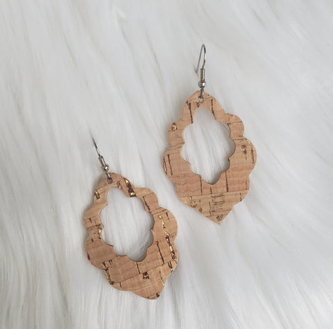 Gold Flecked Natural Cork-Leather Scalloped Earrings