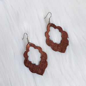 Textured Bronze Leather Scalloped Earrings