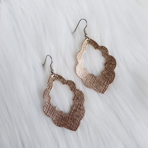 Textured Rose Gold Leather Scalloped Earrings
